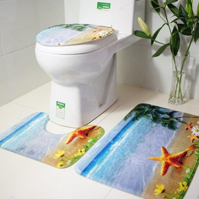 3pcs Coconut Tree Seaside Beach Bathroom Rug Set Non Slip Bath Mat Contour Lid Toilet