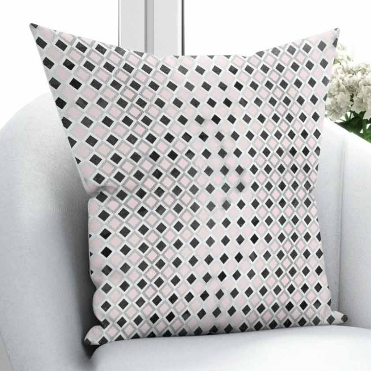 Else Pink Black Gray Little Tiles Geometric Design 3D Pattern Print Throw Pillow Case Cushion Cover Square Hidden Zipper 45x45cm Pillow Case     - title=