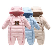 Baby Down Cotton Rompers Pink Little Girls Clothes Winter Baby One Piece Jumpsuits Thick Hooded Coats Outwears Blue Wua70820001