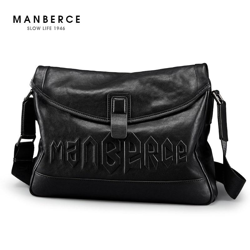 1cfc2d3220529 ... MANBERCE العلامة التجارية حقيبة يد الرجال حقائب كتف الأزياء T..