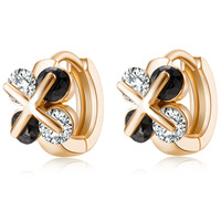 Double Layer Cubic Zirconia Woman Stud Earrings Fashion Gold Color Cross Design Women Jewelry Gift