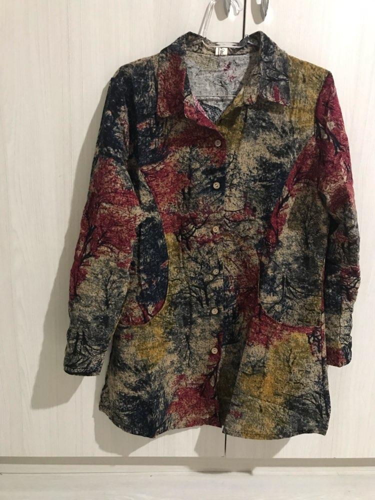 Spring Cotton Linen Women Blouse Casual Loose Long Sleeve Blouses Shirts Plus Size Floral Female Blusas Tops photo review