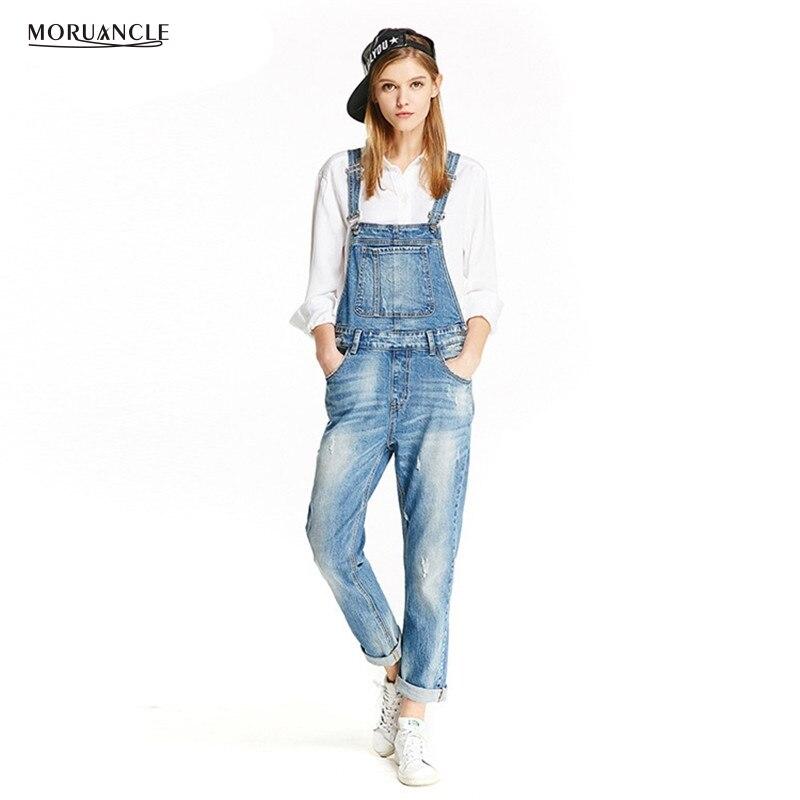 MORUANCLE New Fashion Women's Denim Bib Overalls Scratched Jeans Jumpsuits Eroupean Suspender Pants Playsuits Size XS-XXL