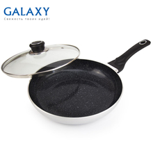 Сковорода с крышкой Galaxy GL 9819 (Материал - алюминий, диаметр 24 см, керамическое покрытие Excilon, термостойкое стекло, индукционное дно)