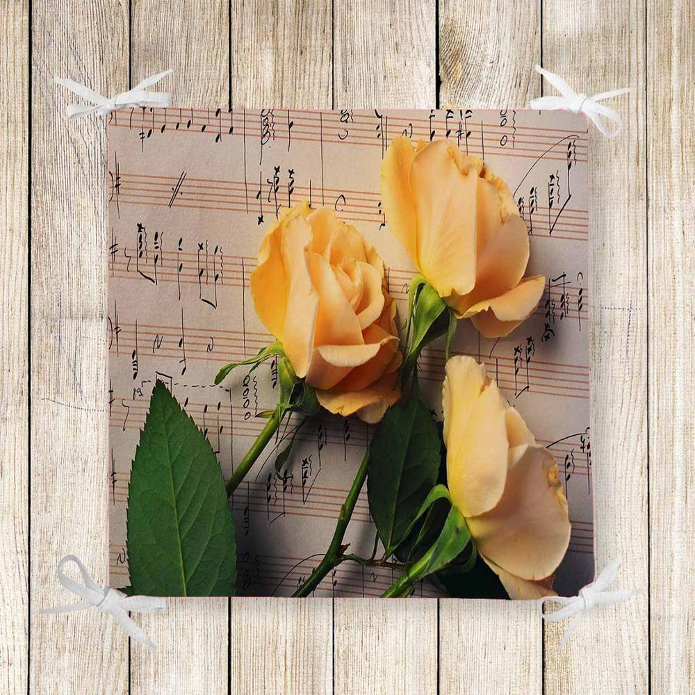 Else Brown Music Notes Yellow Roses 3d Print Chair Pad Seat Cushion Soft Memory Foam Full Lenght Ties Non Slip Washable Zipper