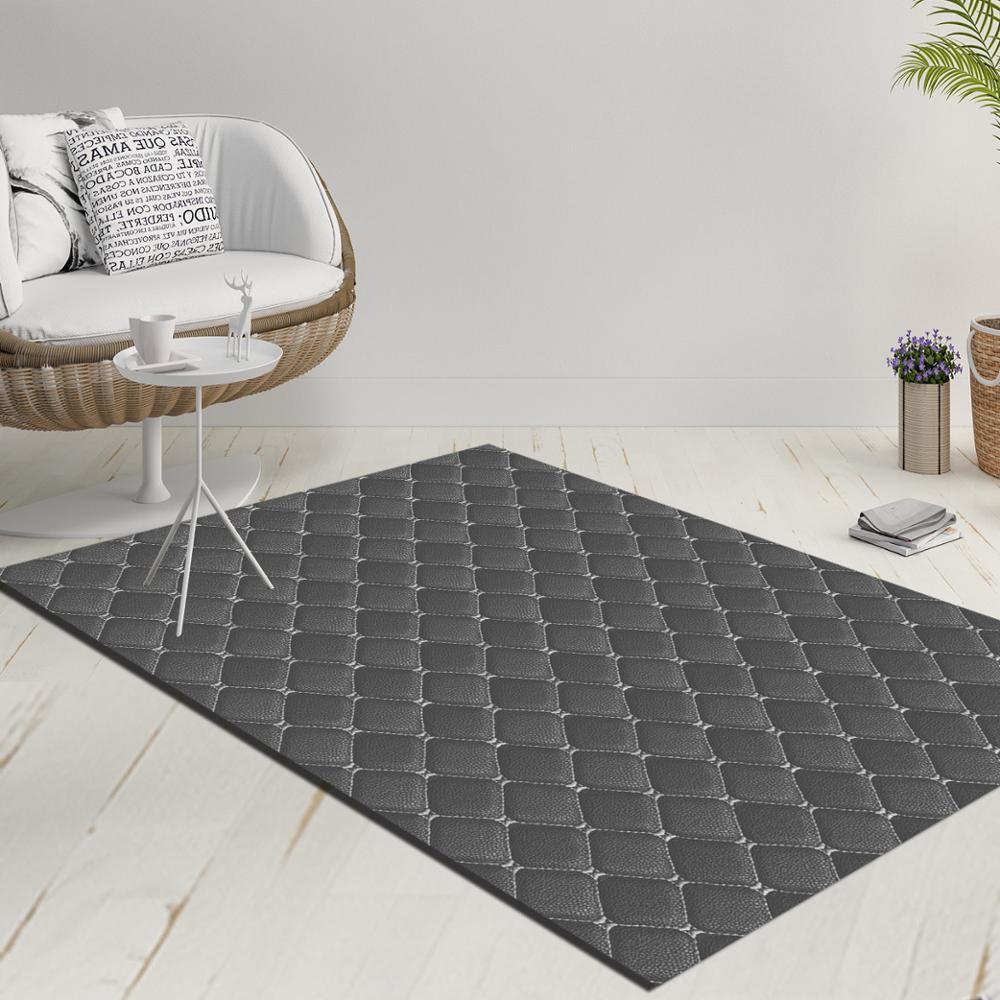 Else White Blue Geometric Tiles Design Decorative 3d Print Anti Slip Kilim Washable Decorative Kilim Rug Modern Carpet