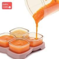 BabyCare 4Pcs/Set Baby Food Glass Crisper Baby Food Milk feeding Storage box Infant Food Storage Portable tray Tableware Set
