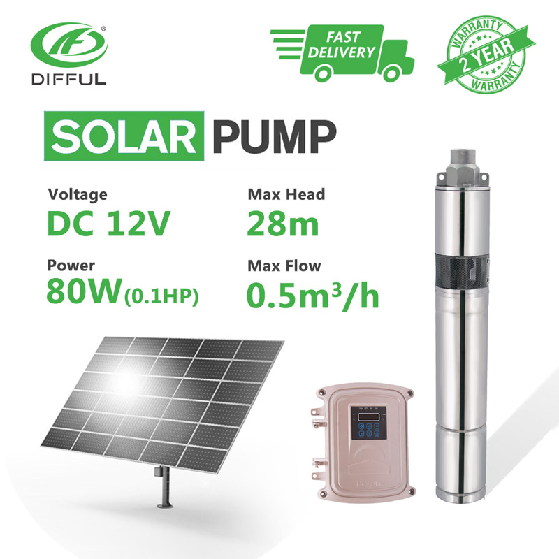 3 DC Screw Submersible Solar Water Pump 12V 80W Stainless with MPPT Controller For Deep Well Irrigation Farming Car Washing
