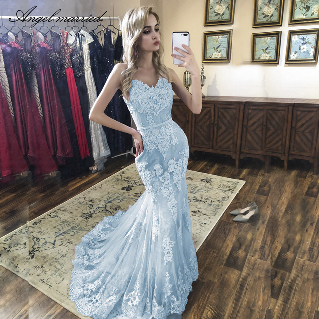 Angel lace mermaid formal party dress