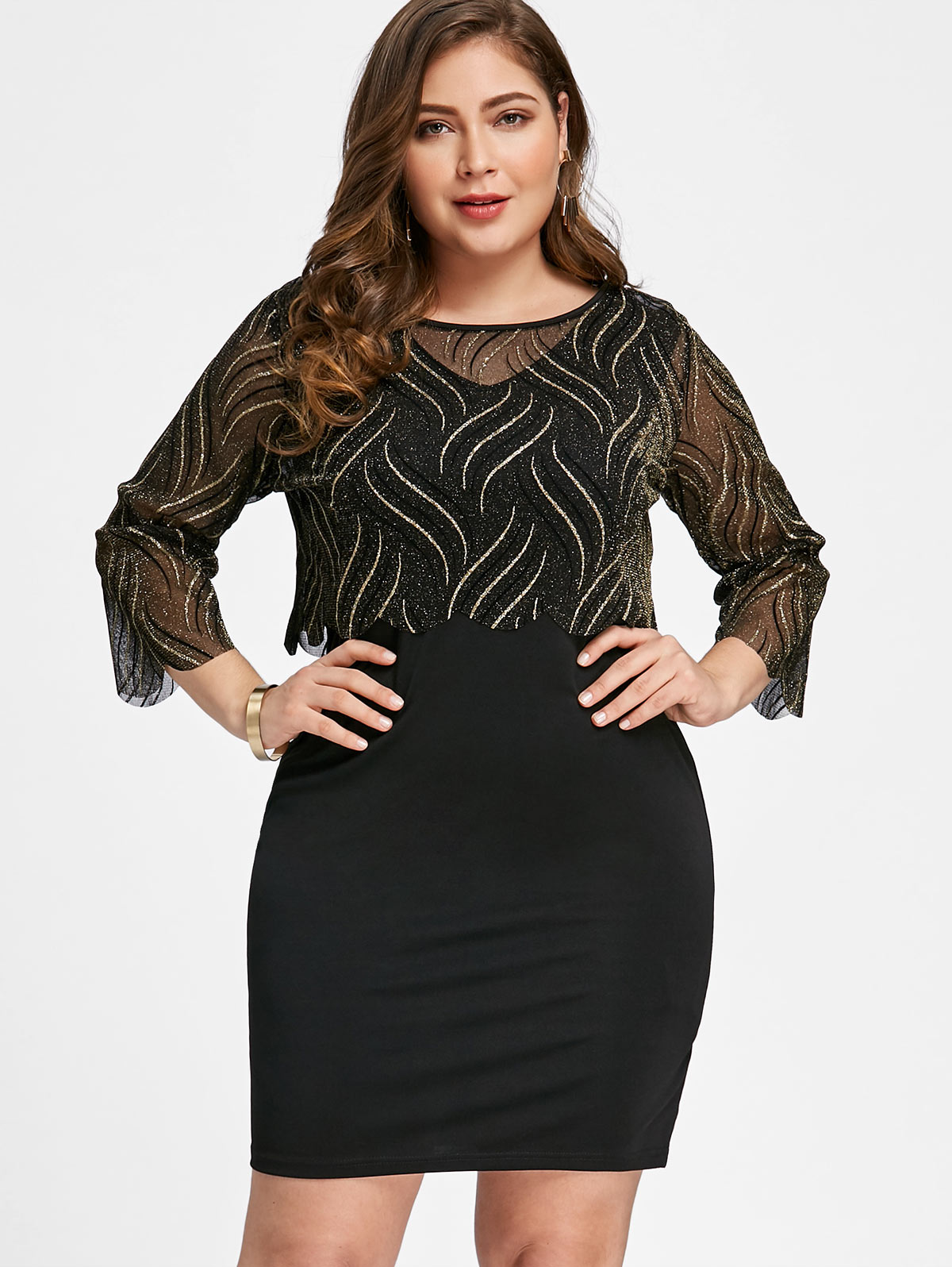 9a347248d6 Gamiss Women Two Piece Dress Plus Size Shining Crop Top With Fitted Dress  3/4 Length Sleeves Bodycon Pencil Dresses Vestidos