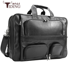17 Laptop Bag Black Famous Brand Business Men Briefcase Tote Handbag Genuine  Leather Casual Man Large Bags Shoulder bags