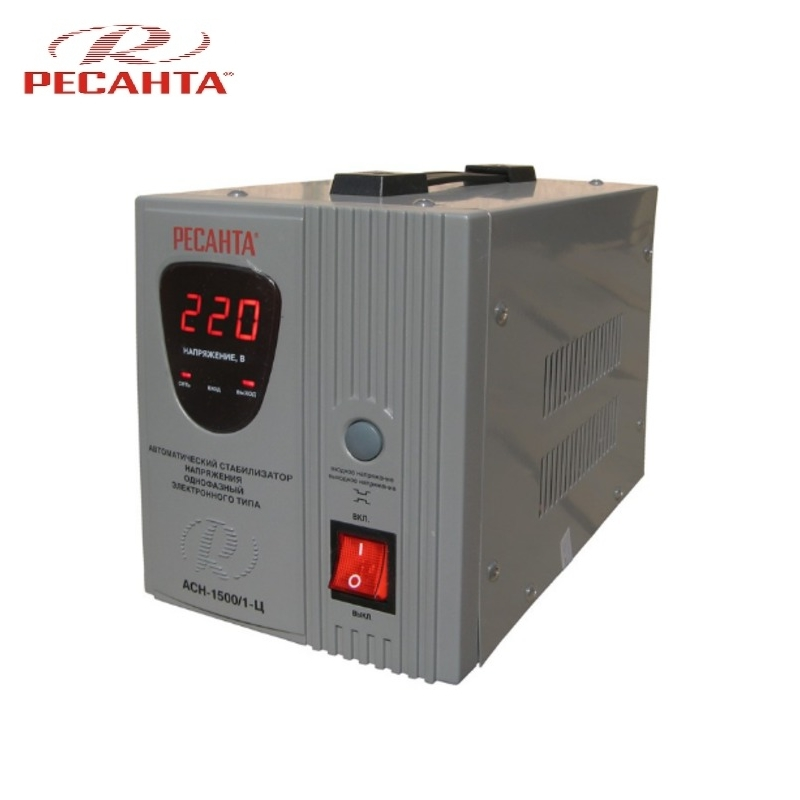 Single phase voltage stabilizer RESANTA ASN-1500/1-C Relay type Voltage regulator Monophase Mains stabilizer Surge protect voltage regulator resanta asn 12000 n1 c