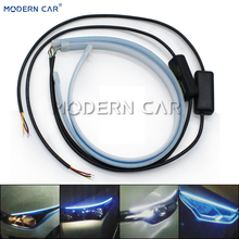 MODERN CAR 2x Flexible Daytime Running Lamp Flowing Dual Color LED DRL Strip Lights Flow Turn Signal Light Universal Car Styling