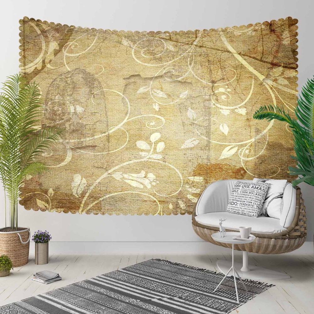 Else Yellow Brown Vintage Turkish Ethnic Flowers 3D Print Decorative Hippi Bohemian Wall Hanging Landscape Tapestry Wall Art