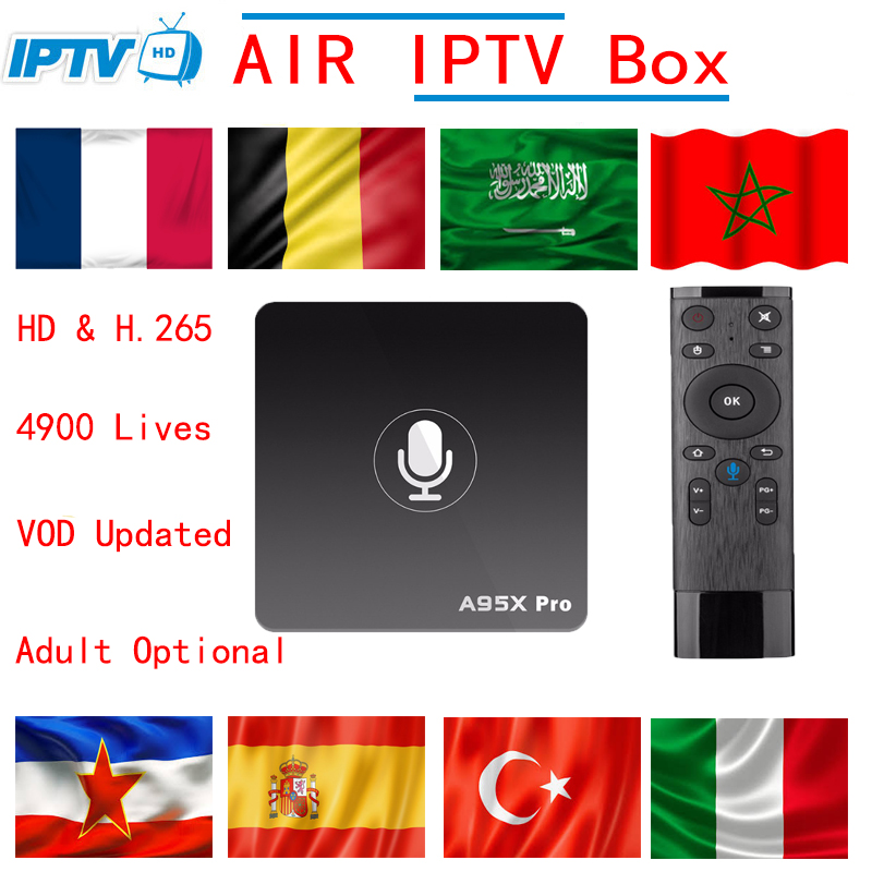Europe Adult IPTV A95X Pro Android 7.1 TV Box 2GB+16GB Smart tv Box Support Google Voice Control 4k Media player Set top box OTT a95x a1 4k tv box tronsmart tsm01 air mouse