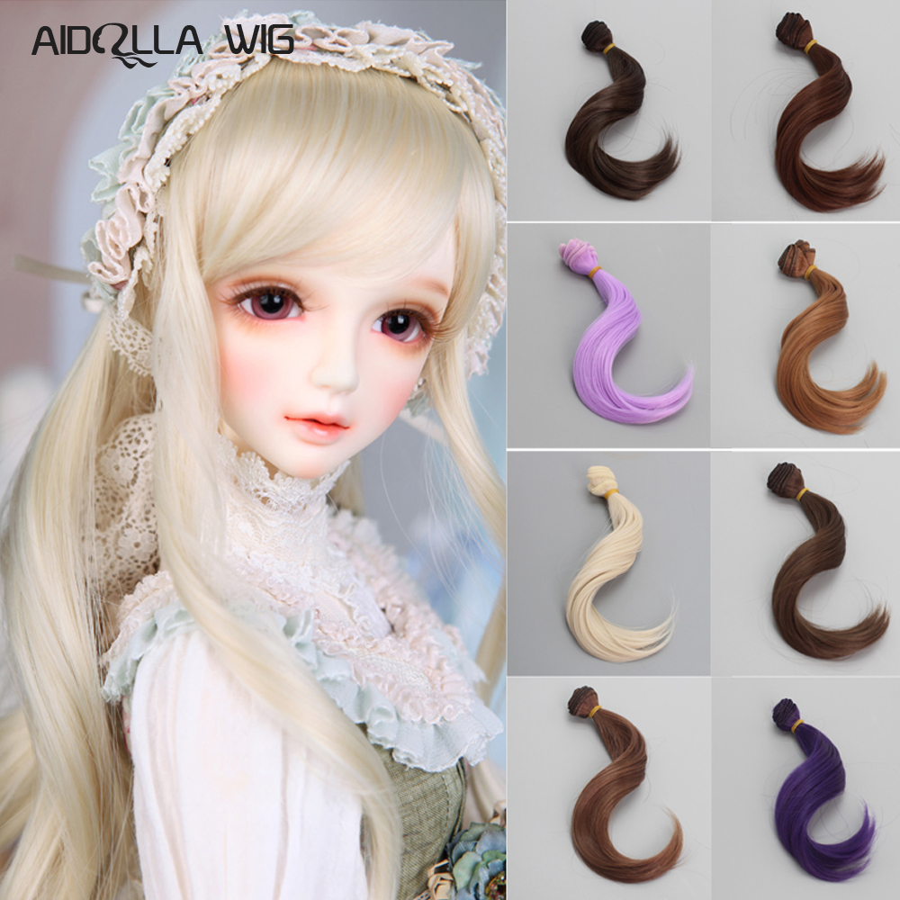 1PCS BJD Hair 15CM Synthetic Fiber Curly Hair 16 Colors For Doll Wigs DIY Russian Doll Wigs Fits Kurhn BJD SD American Doll in Dolls Accessories from Toys Hobbies