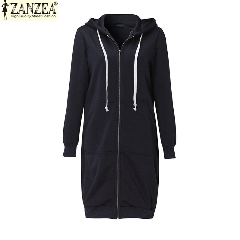 Winter Autumn ZANZEA 2018 New Casual Women Long Hoodies Sweatshirt Coat Pockets Zip Up Outerwear Hooded Jacket Plus Size Tops