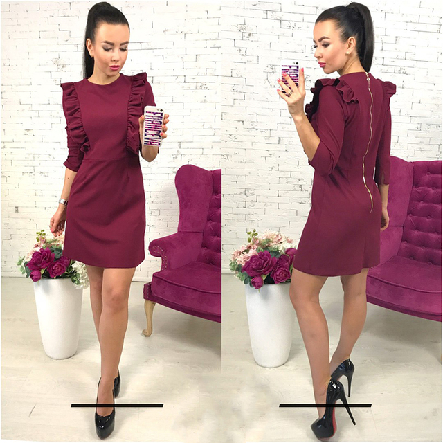 2018 новые весенние женские оборками платье Повседневная круглым вырезом и рукавами 3/4 Туника назад молния Bodycon партия Vestidos