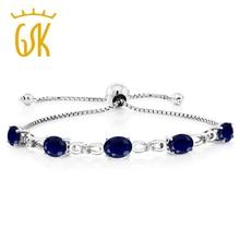 GemStoneKing 5.10 ct Zafiro Oval Natural Pulsera 925 Sterling Silver Ajustable Brazalete de Diamantes de Tenis Para Las Mujeres