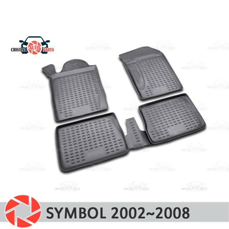 Alfombras de piso para Renault símbolo 2002 ~ 2008 alfombras antideslizantes de poliuretano tierra protección interior estilo de coche accesorios