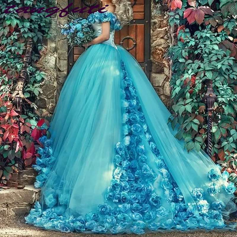 Blue Ball Gown Quinceanera Dresses Handmade Flowers Off the shoulder Court Train Tulle Prom sweet 16