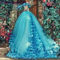 Blue Ball Gown Quinceanera Dresses Handmade Flowers Off the shoulder Court Train Tulle Prom sweet 16 Dress Custom Made Dress