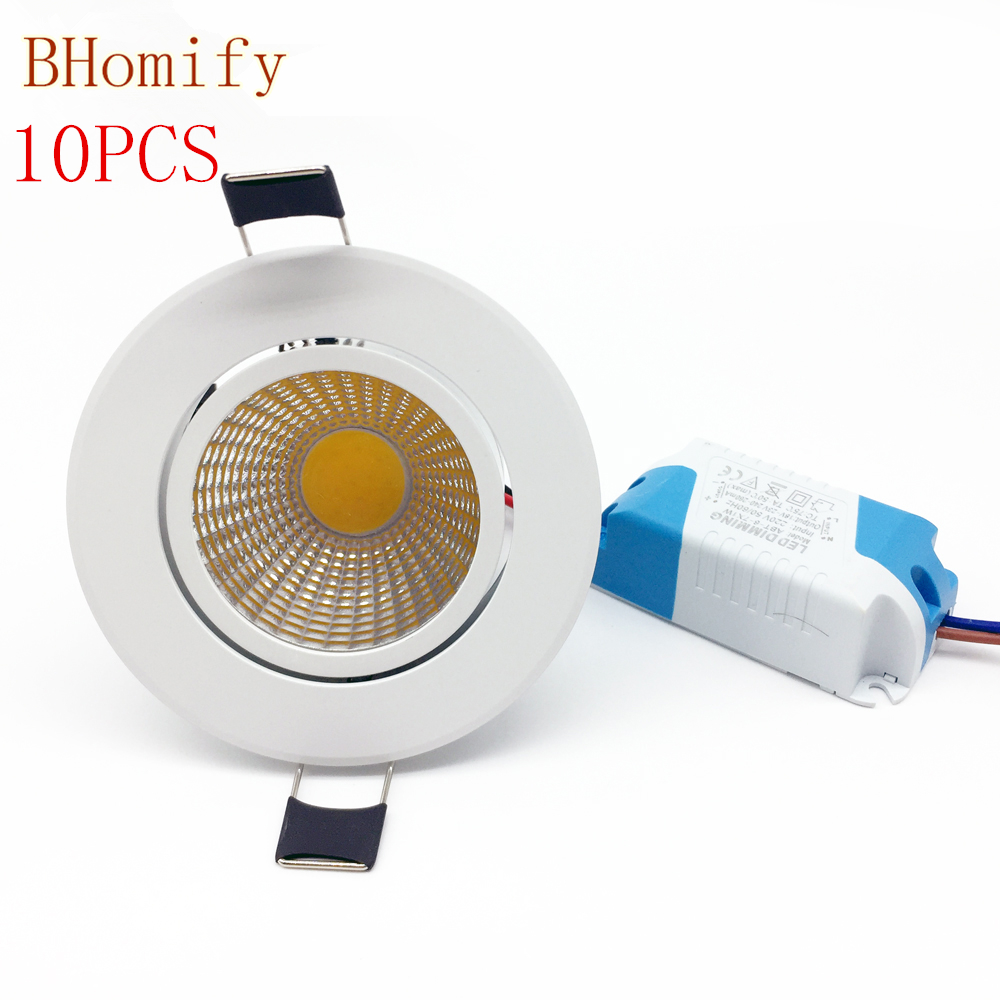 10X Dimmable Led downlight light COB Ceiling Spot Light 3w 5w 7w 12w AC110V/220V AV85-265V ceiling recessed Lights Indoor Light