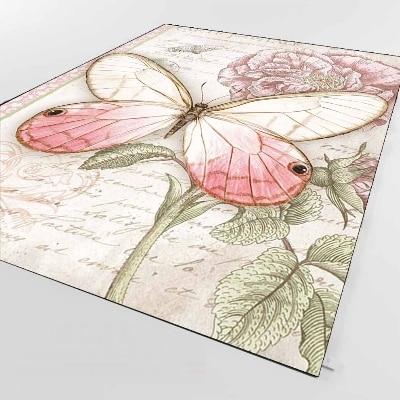 Else Vintage Pink Roses Retro Wrien Flower 3d Print Non Slip Microfiber Living Room Decorative Modern Washable Area Rug Mat
