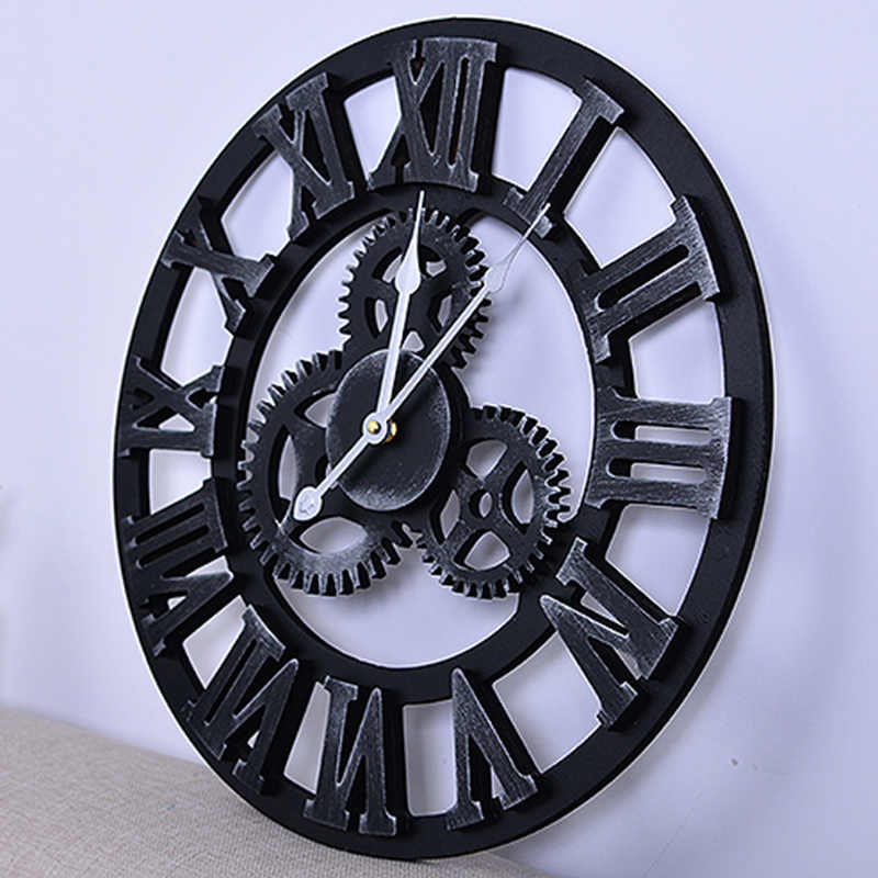 Large Wall Clock 45cm Round Vintage Metal Roman Numeral Silent Gear Design Home Art Decoration Dropship Hwc