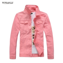 MORUANCLE Fashion Men's Denim Jackets Slim Fit Spring Autumn Jeans Jacket Pink Red Turn Down Collar Outwear Size M-4XL