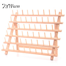 KiWarm Folded Wood Tailor Thread Rack 60 Spool Sewing Embroidery Thread Organizer Storage Holder Sewing Accessories Tools