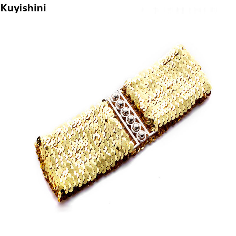 Hot Fashion New Desinger Women Ladies Elastic Sequin Gold Belt Stretch Belly Wide Waistband Wrap Buckle Corset Costume Cheap