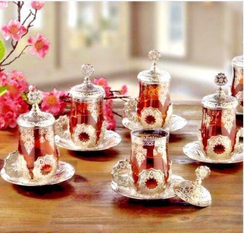 Seljuk tea Set Turkish Quality Tea Serving Set Cups Coated Handmade فنجان القهوة