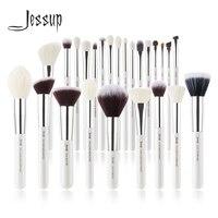 Jessup перламутровые белые/серебряные кисти для макияжа набор красоты тональная Пудра Тени для век Make up кисти высокого качества 6 шт.-25 шт.