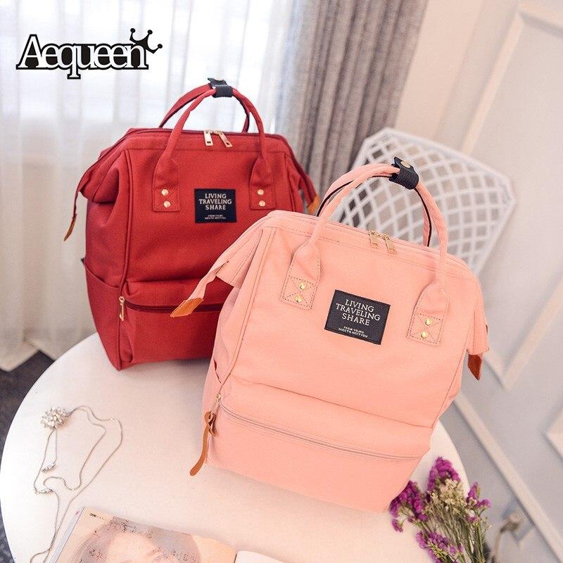 Aequeen Large Schoolbag Student School Bag Korean Backpack Pink Women Casual Canvas Shoulder Bags Printed Rucksack For Teen Girl