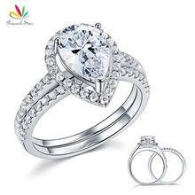 Павлин звезда Твердое Серебро 925 пробы Свадебные обещания обручальное кольцо набор 2 карат ювелирные изделия в форме груши CFR8224