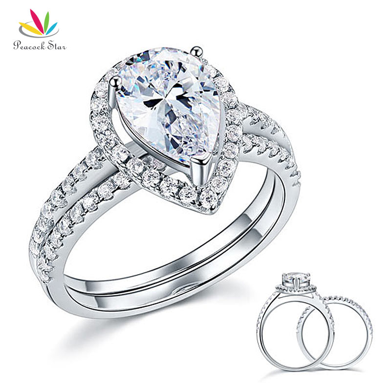 Peacock Star Solid Sterling 925 Silver Bridal Wedding Promise Engagement Ring Set 2 Ct Pear Jewelry CFR8224 peacock star solid sterling 925 silver bridal wedding promise engagement ring set 2 ct pear jewelry cfr8224