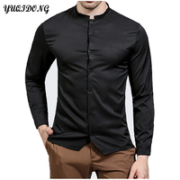 High Quality 2017 Spring Autumn Features Shirts Men Casual Shirt Solid Color Long Sleeve Casual Slim