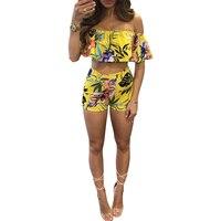 2017 Women Summer Ruffle Crop Top Women Set Two Piece Set Top And Pants Floral Print