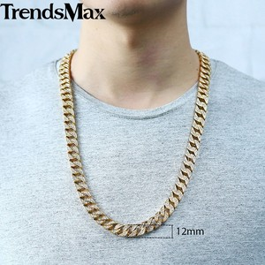 Image 3 - Trendsmax Hip Hop Iced Out Full Rhinestone Men Necklace Gold Stainless Steel Chain Necklace for Men Jewelry KHN109