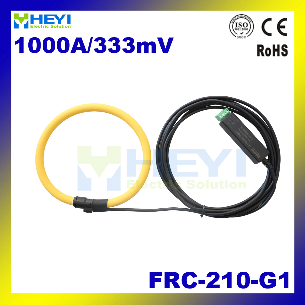 Yellow color Rogowski Sensor Input : 1~1000A Output : 333mV FRC-210-G1 rogowski current transducer d8 hall effect high current transducer 1000a dc current transducer
