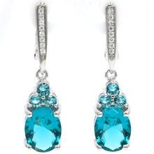 SheCrown Drop Shape Rich Blue Aquamarine White CZ Gift For Girls Silver Earrings 32x8mm