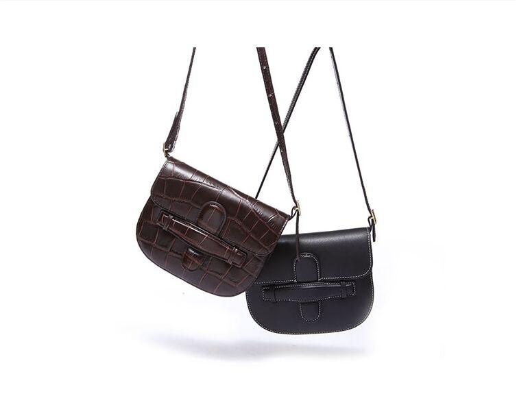 빈티지 정품 가죽 여성 안장 가방 패션 편직 어깨 미니 가방 활주로 18 cm-에서숄더 백부터 수화물 & 가방 의  그룹 1