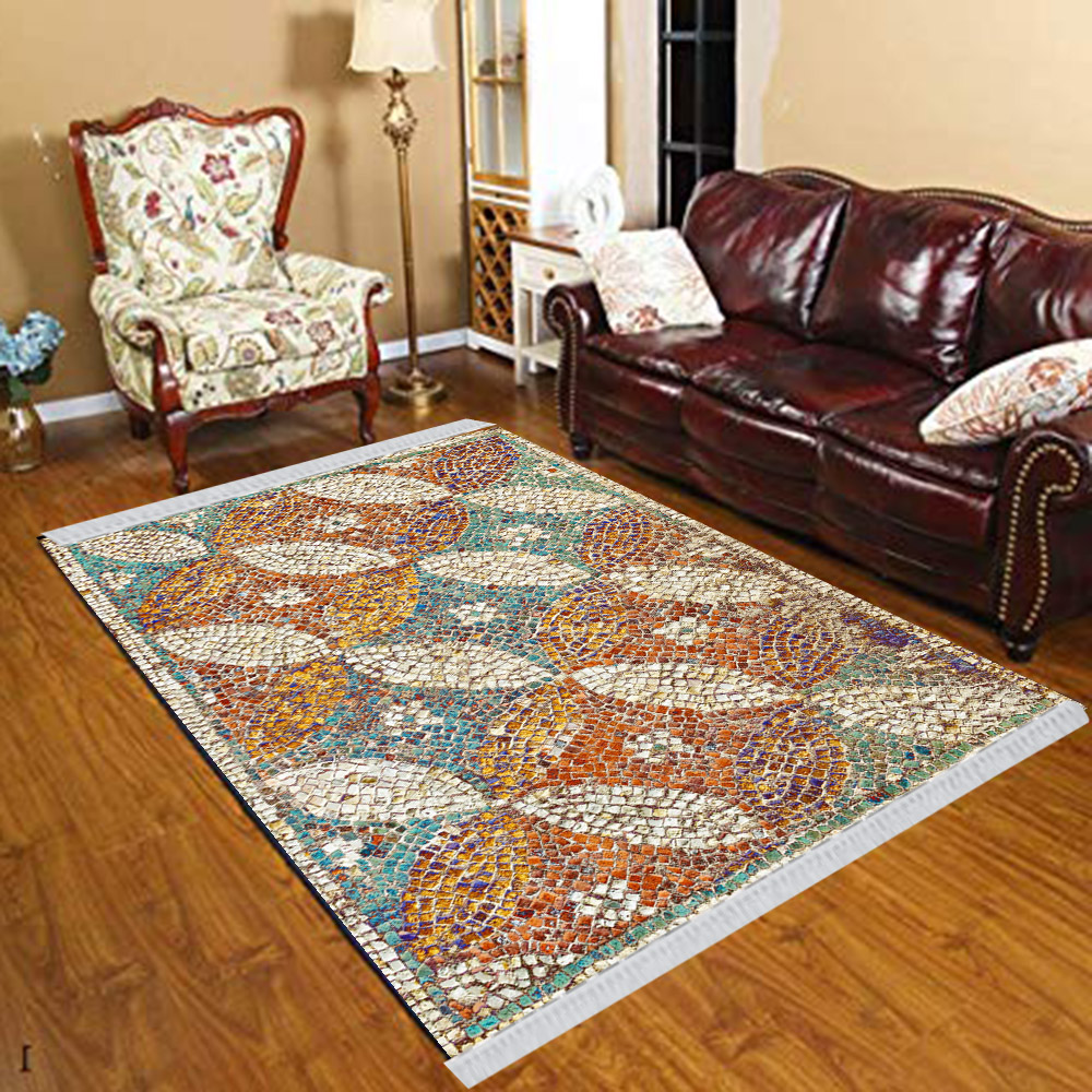 Else Green Blue Orange Mosaic Pebble Stones 3d Print Anti Slip Kilim Washable Decorative Kilim Tassel Rug Bohemian Carpet