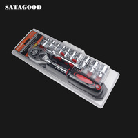 SATAGOOD 12 Chrome Vanadium Steel Ratchet Wrench spark plug socket Kit Drive Ratchet Wrench Spanner Screwdriver G 10052