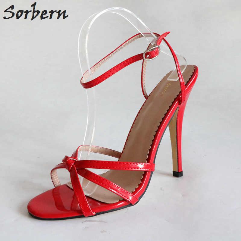 ef3683ab683c ... Sorbern Sexy 12Cm Stiletto Sandals Slingbacks Women High Heel Shoes  Unisex Fetish Sandal Sexy Mistress Tie ...