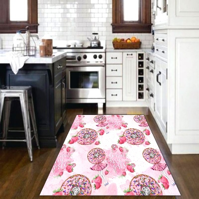 Else Pink Candy Girls Watercolor Strawberry 3d PatternPrint Non Slip Microfiber Kitchen Modern Decorative Washable Area Rug Mat