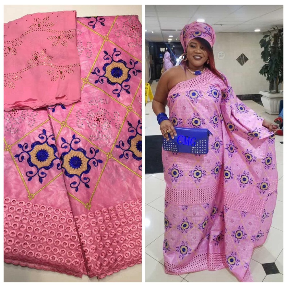 2019 Africain Tissu Bazin Brocade Richer Getzner Embroidered Guinea Basin Garment Lace Materials 5yards 2yards Per