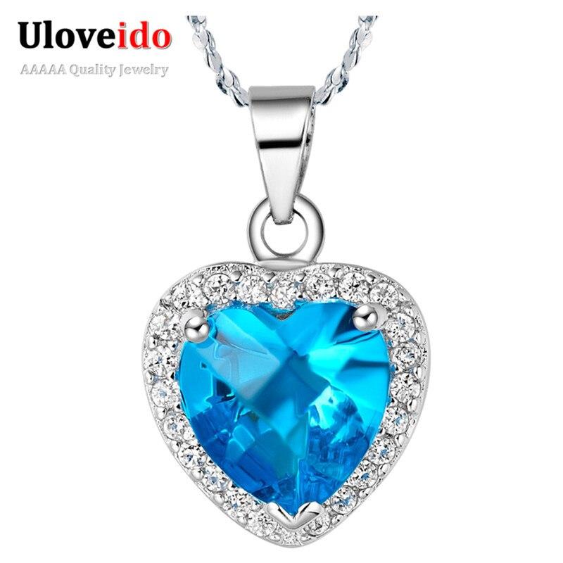 3fdffb5d0757 Uloveido Coeur Collier Bleu Cristal Pierre Femmes de Bijoux Bijoux  Pendentifs Colliers Argent Couleur Bijoux Pendentif Chaîne N383