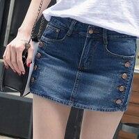 Mid Waisted Denim Shorts Women 2018 Summer Skorts Skirts Slim Blue Short Jeans Vintage Short Ladies High Quality E840
